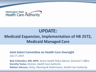 UPDATE:  Medicaid Expansion, Implementation of HB 2572, Medicaid Managed Care