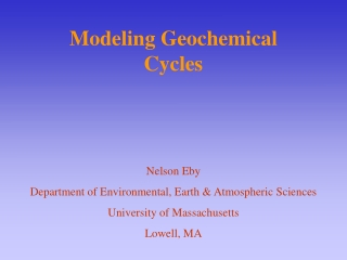 Modeling Geochemical Cycles