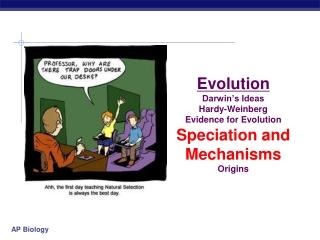 Evolution Darwin's Ideas Hardy-Weinberg Evidence for Evolution Speciation and Mechanisms Origins