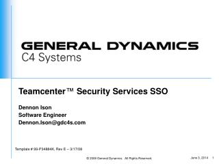 Teamcenter ™  Security Services SSO