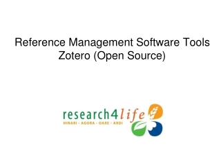 Reference Management Software Tools Zotero (Open Source)