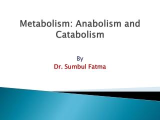 Metabolism: Anabolism and Catabolism