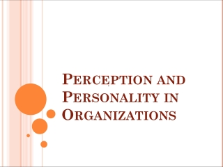 Perception and Personality in Organizations