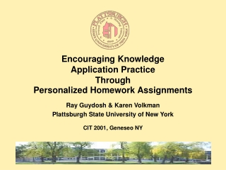 Encouraging Knowledge  Application Practice  Through  Personalized Homework Assignments