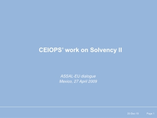 CEIOPS' work on Solvency II