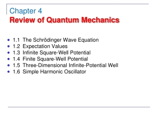 1.1	The Schrödinger Wave Equation 1.2	Expectation Values 1.3	Infinite Square-Well Potential