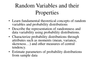 Random Variables and their Properties