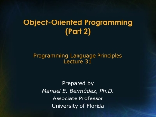Object-Oriented Programming (Part 2)