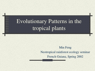 Evolutionary Patterns in the tropical plants
