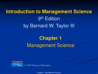 Introduction to Management Science 9 th  Edition by Bernard W. Taylor III