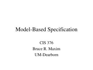 Model-Based Specification