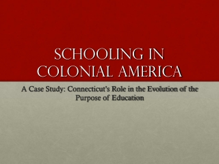 Schooling In Colonial America