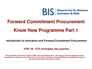 Forward Commitment Procurement  Know How Programme Part 1