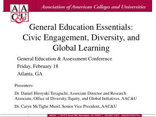 General Education Essentials: Civic Engagement, Diversity, and Global Learning