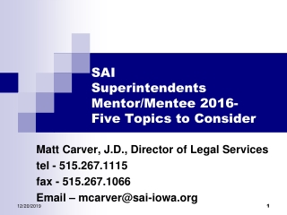 SAI  Superintendents  Mentor/Mentee 2016-     Five Topics to Consider