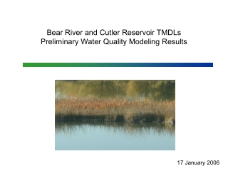 Bear River and Cutler Reservoir TMDLs  Preliminary Water Quality Modeling Results