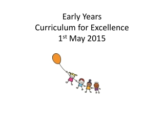Early Years  Curriculum for Excellence 1 st  May 2015