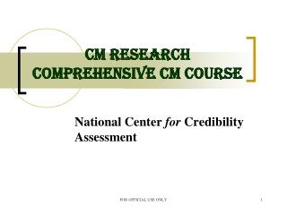CM Research Comprehensive CM Course