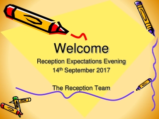 Welcome Reception Expectations Evening 14 th  September 2017 The Reception Team
