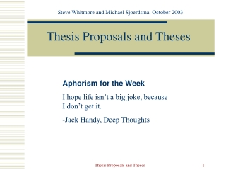 Thesis Proposals and Theses