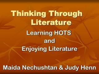 Thinking Through Literature