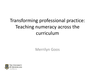 Transforming professional practice: Teaching numeracy across the curriculum
