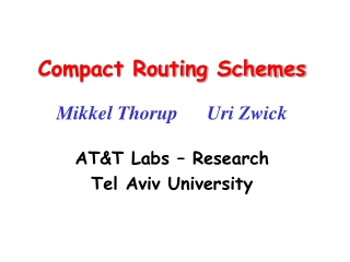 Compact Routing Schemes