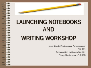 LAUNCHING NOTEBOOKS AND  WRITING WORKSHOP