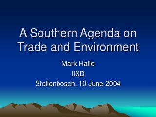 A Southern Agenda on Trade and Environment