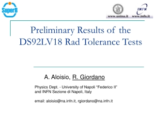Preliminary Results of the DS92LV18 Rad Tolerance Tests