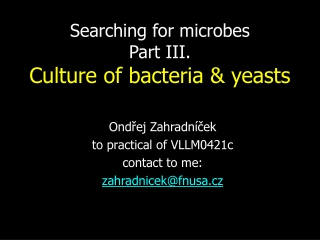 Searching for microbes Part III. Culture of bacteria & yeasts