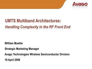 UMTS Multiband Architectures: Handling Complexity in the RF Front End