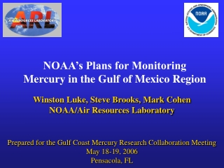 NOAA's Plans for Monitoring Mercury in the Gulf of Mexico Region