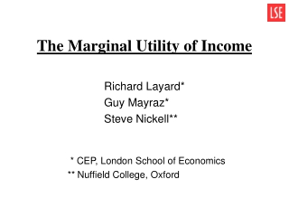 The Marginal Utility of Income