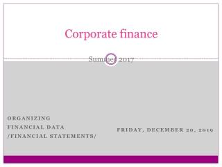 Corporate finance Summer 2017