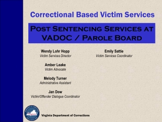 Correctional Based Victim Services