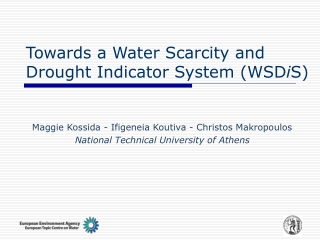 Towards a Water Scarcity and Drought Indicator System (WSD i S)