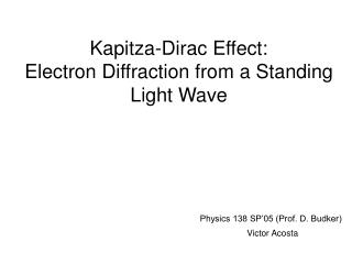 Kapitza-Dirac Effect: Electron Diffraction from a Standing Light Wave