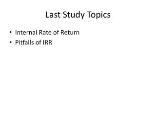 Last Study Topics