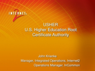 USHER U.S. Higher Education Root  Certificate Authority