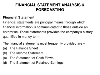 FINANCIAL STATEMENT ANALYSIS & FORECASTING