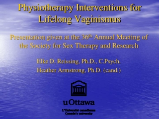 Physiotherapy Interventions for Lifelong Vaginismus