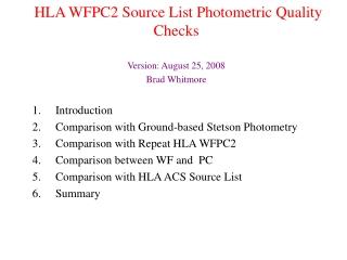 HLA WFPC2 Source List Photometric Quality Checks