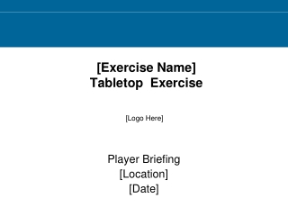 [Exercise Name]  Tabletop  Exercise