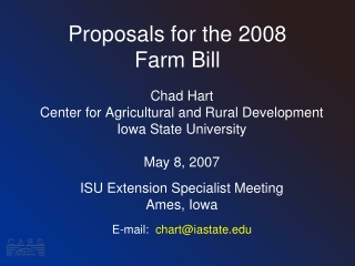 Proposals for the 2008 Farm Bill