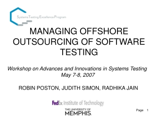 MANAGING OFFSHORE OUTSOURCING OF SOFTWARE TESTING