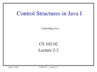 Control Structures in Java I