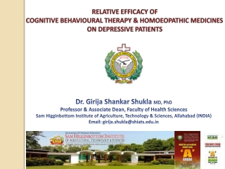 RELATIVE  EFFICACY OF  COGNITIVE  BEHAVIOURAL  THERAPY & HOMOEOPATHIC  MEDICINES