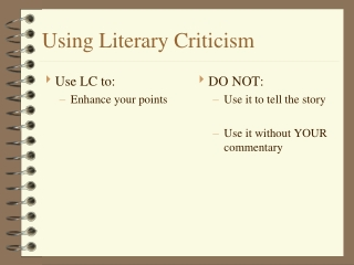Using Literary Criticism