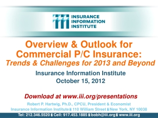Overview & Outlook for Commercial P/C Insurance:  Trends & Challenges for 2013 and Beyond